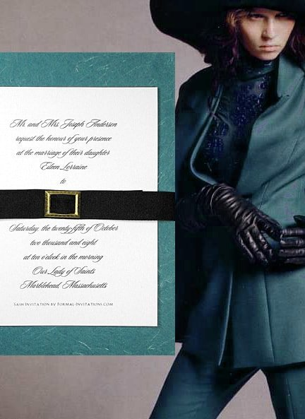 Chic Tree-Free Teal Wedding Invitations with Black Grosgrain Belt $1.30