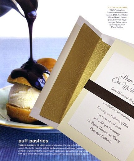 Creamy Vanilla Wedding Invitations with Rich Dark Brown Belt with 14k Envelope Liner