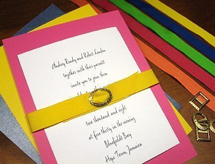 Belted Wedding Invitations in Brilliant Beautiful Colors