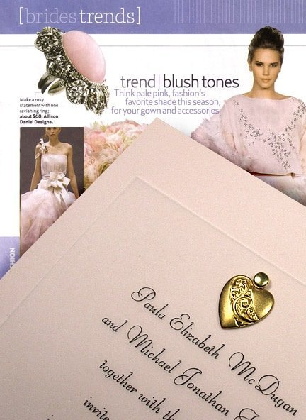 Lovely Blush Pink Wedding Invitations with Brass Heart Charm 90¢