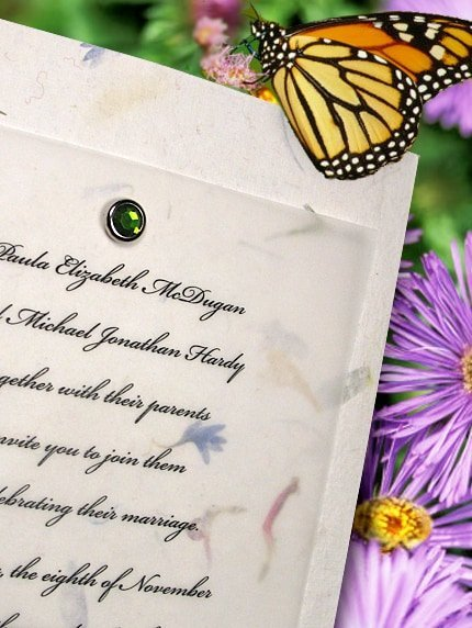 Divine Petal Paper Wedding Invitations with Tsavorite Green Crystal Brad