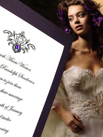 Gorgeous Eggplant Purple Wedding Invitations with Amethyst Crystal Brad 62¢
