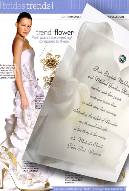Elegant Flower Wedding Invitations with Sparkling Aquamarine Crystal Jewel Brad