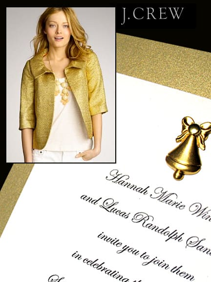 Dazzling Gold Holiday Invitations with Brass Bell Charm 86¢