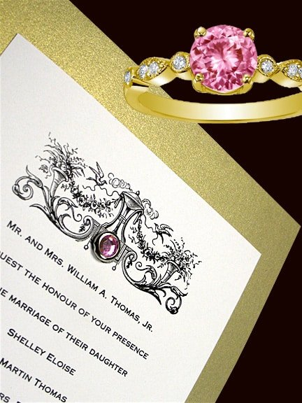 Elegant Metallic Gold Wedding Invitations with Pink Quartz Crystal Brad 66¢