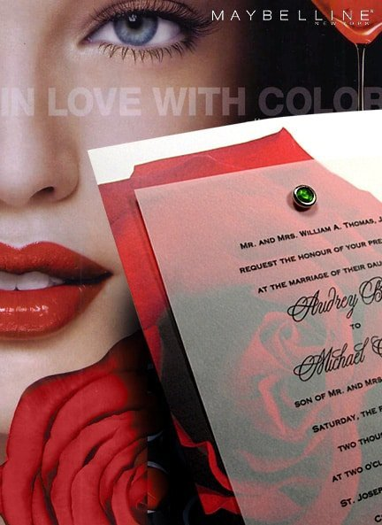 Dramatic Red Rose Wedding Invitations with Tsavorite Crystal Jewel Brad 96¢
