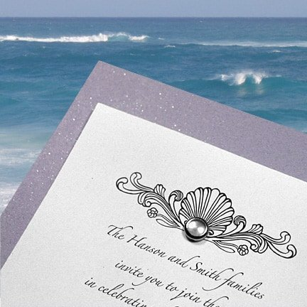 Lavender Beach Wedding Invitations with Pearl Jewel Brad