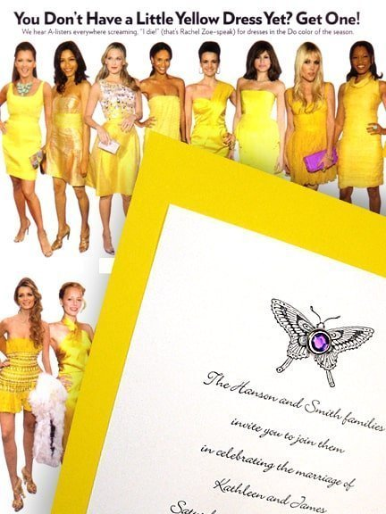 Lovely Yellow Wedding Invitations with Amethyst Crystal Brad 62¢