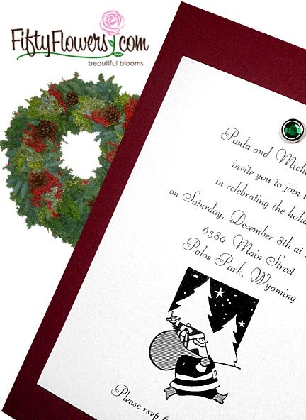 Affordable Burgundy Holiday Invitations with Emerald Crystal Brad 66¢