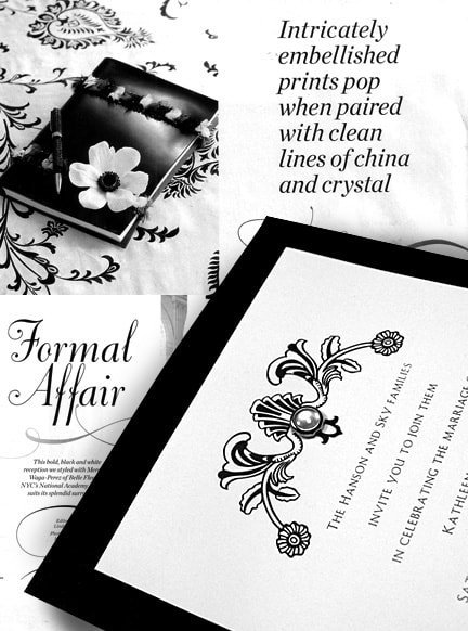 Bold, Black and White Formal Invitations Embellished with a Pearl Jewel Brad