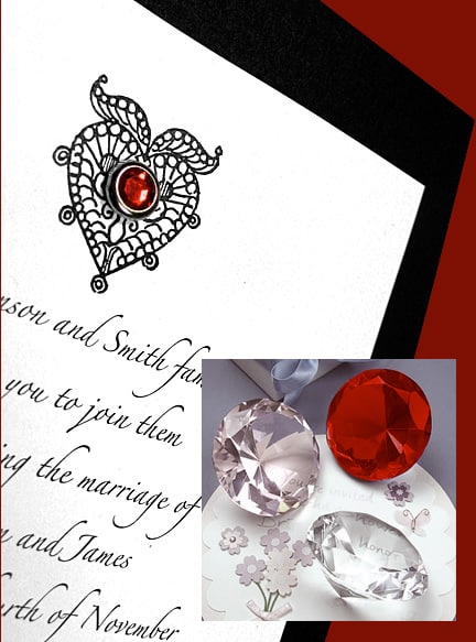 Beautiful Black and White Wedding Invitations with Ruby Crystal Brad