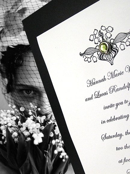 Vintage Lily of the Valley Wedding Invitations with Tourmaline Crystal Brad