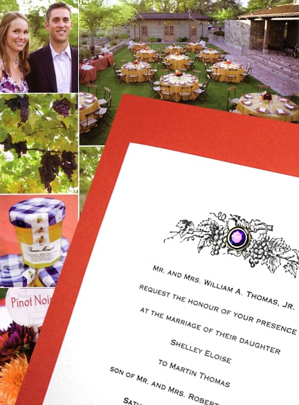 Rich Orange and Purple Amethyst Crystal Brad Wedding Invitations with Vintage Grapes