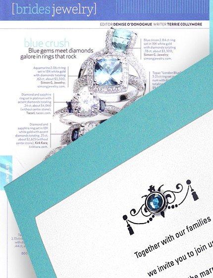 Radiant Tiffany Blue Wedding Invitations with Sparkling Crystal Brad 62¢