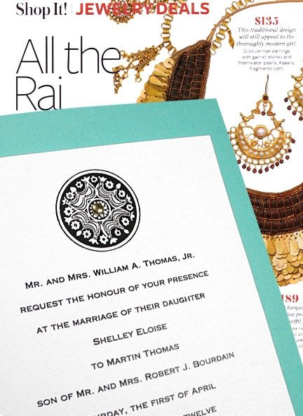 Colorful Turquoise Wedding Invitations with Gold Mini Brad 58¢