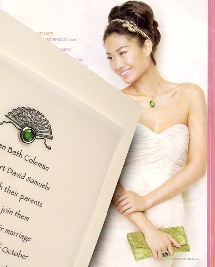 Perfect Cream Wedding Invitations with Green Crystal Brad 66¢