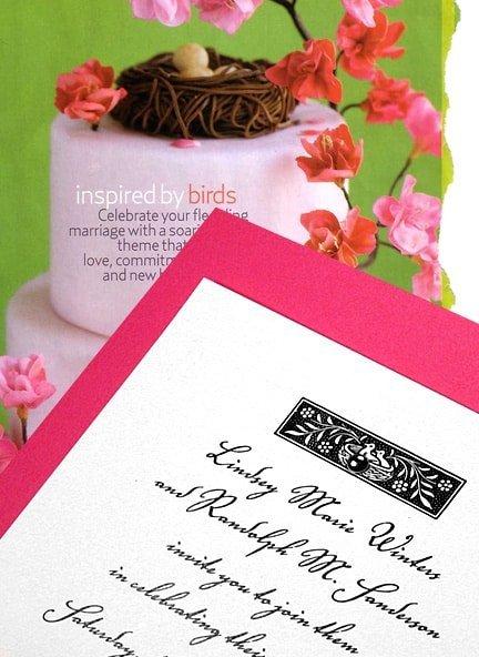 Berry Pink Wedding Invitations with Vintage Bird's Nest Art