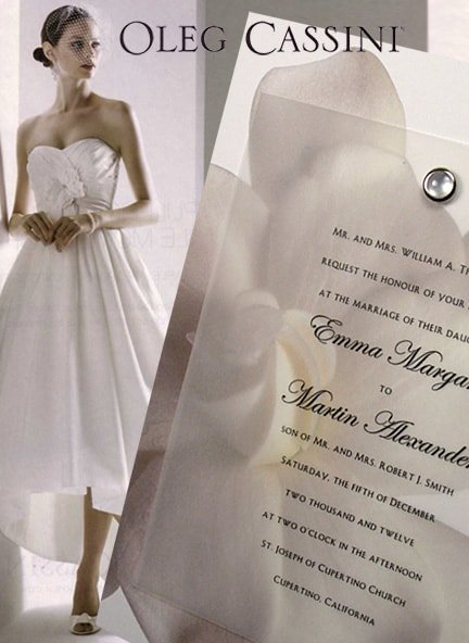 Elegant Gardenia Wedding Invitation Idea with Pearl Jewel Brad