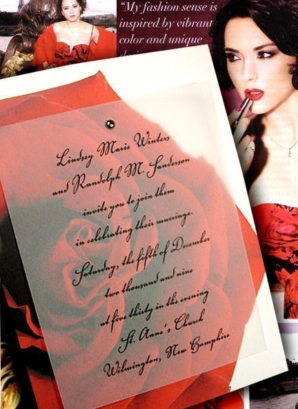 Vibrant Red Rose Wedding Invitations with Silver Mini Brad 88¢