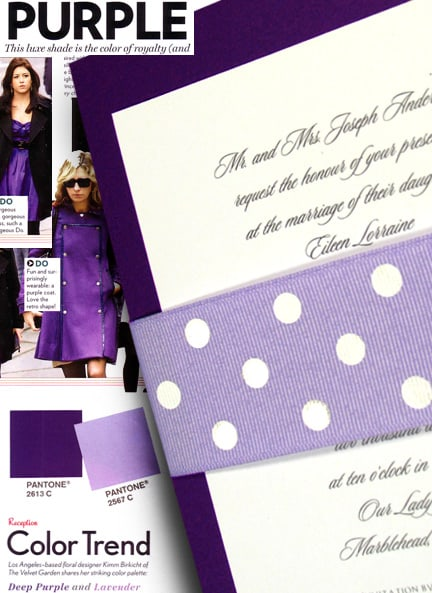 Luxe Purple and Wedding Invitations with Polka Dot Grosgrain Sash $1.02