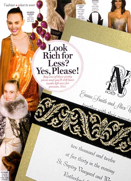 Rich Gold Wedding Invitations with French Wrap for Less