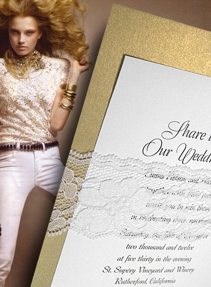Glam Metallic Gold Wedding Invitation with Lace Wrap