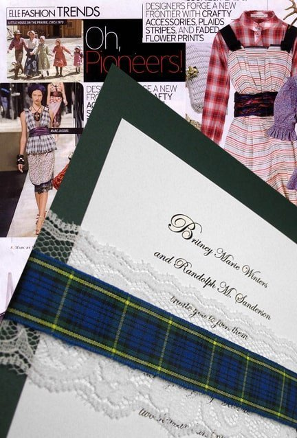 Luxurious Dark Green Wedding Invitations with Lace and Plaid Wraps