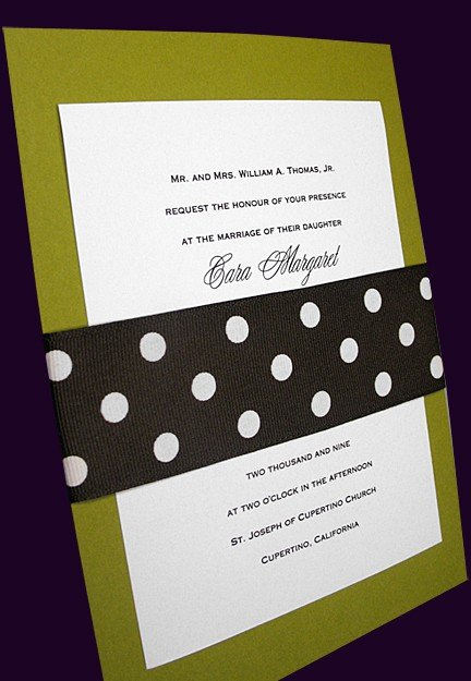 Modern Apple Green Wedding Invitations with Brown Polka Dot Grosgrain Wrap