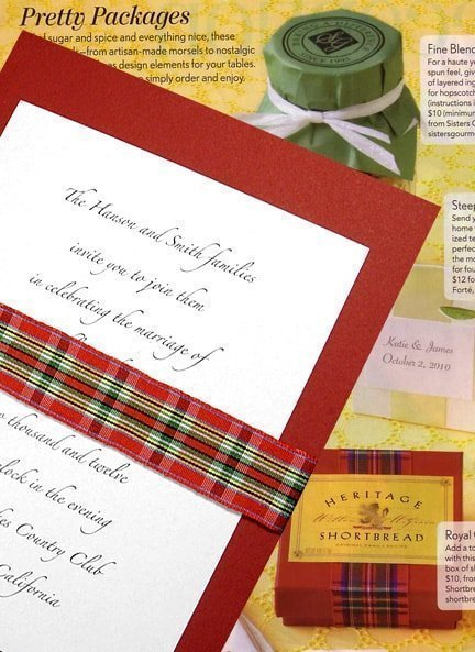 Pretty Red Plaid Wedding Invitations Idea with Tartan Wrap