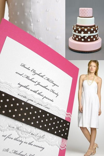 Beautiful Swiss Dot Pink and Brown Wedding Invitations with Romantic Lace
