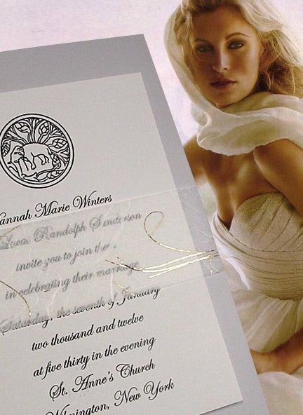 Elegant Blue-Gray Wedding Invitations with Unryu and Gold Thread Sash 82¢