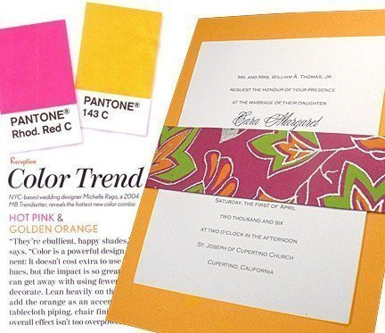 Modern Golden Yellow Wedding Invitations with Fuchsia Sash