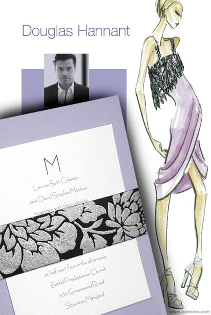 Luxe Lavender Wedding Invitations Idea with Silver and Black Sash