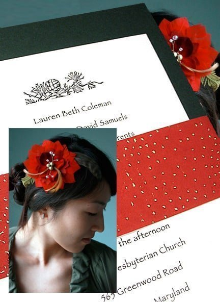 Luxe Holiday Invitations with Red Beaded Sash 98¢