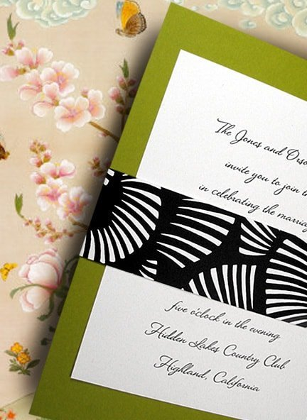 Striking Apple Green Wedding Invitations with Black and White Japanese Sash 90¢