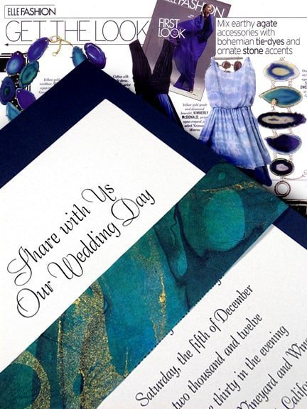 Fashion Forward Navy Blue Wedding Invitations with Wave Sash 94¢