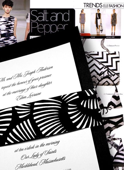 Modern Black and White Wedding Invitations with Japanese Print Sash 90¢