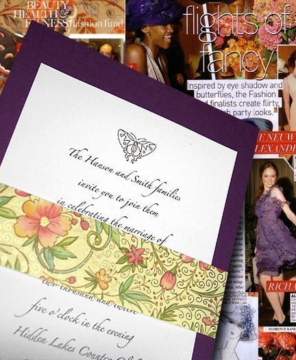 Fancy Butterfly Wedding Invitations with Floral Sash