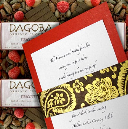 Poppy Red, Chocolate Brown and Gold Wedding Invitations