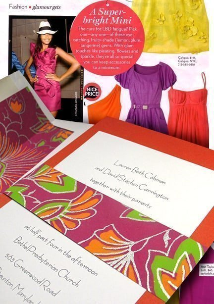 Beautiful Bright Orange, Fuchsia, Lime and Silver Wedding Invitations