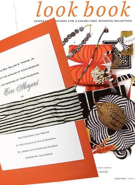 Safari-Chic Orange Wedding Invitations with Zebra Sash 98¢