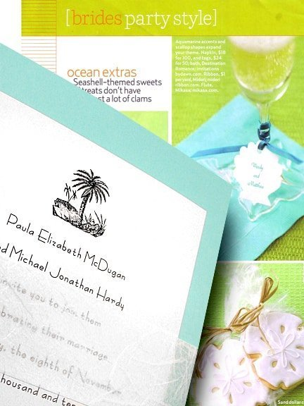 Tahiti Blue Beach Wedding Invitations with Unryu Sash 78¢