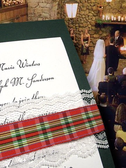 Beautiful Holiday Invitations with Lace and Plaid Wrap $1.50