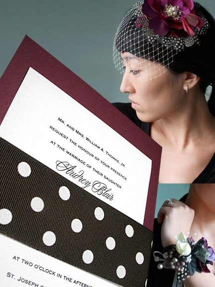 Fabulous Marsala Wine Wedding Invitation Ideas with Polka Dot Wrap