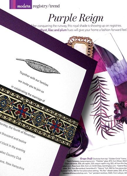 Royal Purple Wedding Invitations with Metallic Jacquard Wrap 98¢