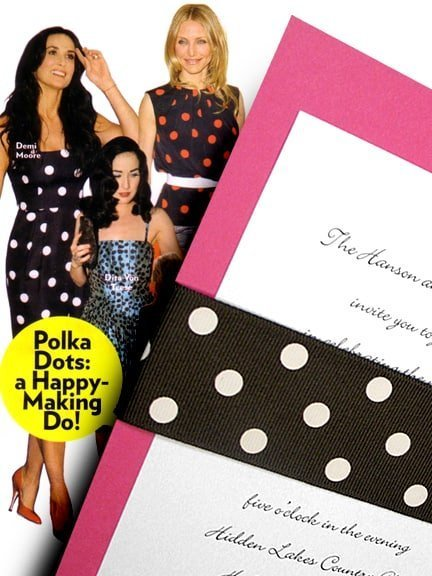 Contemporary Pink Wedding Invitations with Brown Polka Dot Wrap 98¢