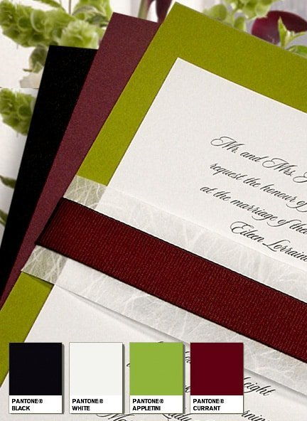 Glam Apple Green Wedding Invitations with Unryu and Bordeaux Grosgrain Bands 94¢