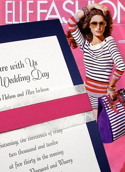 Nautical Navy Wedding Invitations with Unryu and Fuchsia Bands 94¢
