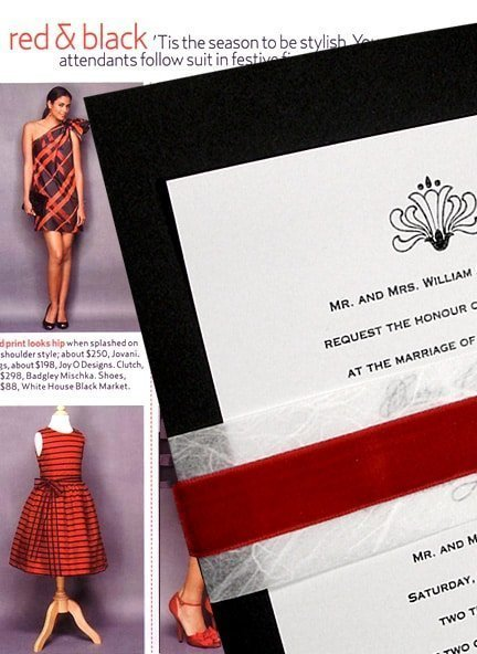 Black Wedding Invitations with Red Velvet and Unryu Bands $1.18