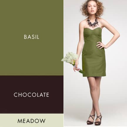Fall Wedding Color Palette of Basil, Brown and Pale Meadow Green